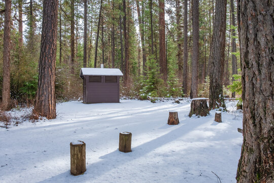 Snow covered campground along the Metolius River in winter
