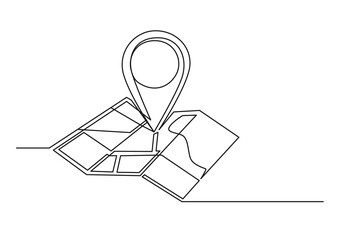 Continuous one line drawing of an map point