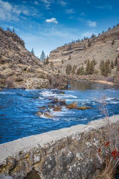 View of Steelhead Falls near Bend in Central Oregon
