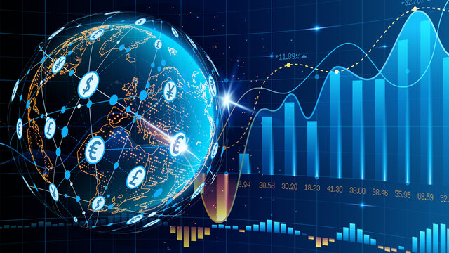 Blue futuristic background. Quotes on world markets. Modern technology. Online banking, financial communications and mining. World wide web. Planet Earth. Hologram with a globe of the world. Vector.