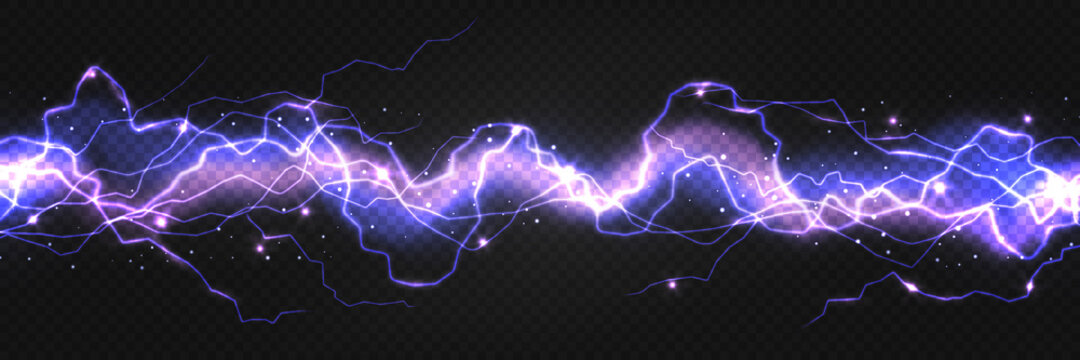 Realistic lightning powerful discharge on dark background. Electric wave from side to side. Thunder shock effect, bright blazing thunder light strike in darkness. Vector 3d illustration of energy flow