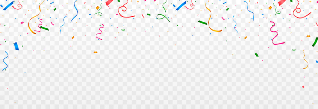 Vector confetti png. Multicolored confetti falls from the sky. confetti, serpentine, tinsel on a transparent background. Holiday, birthday.