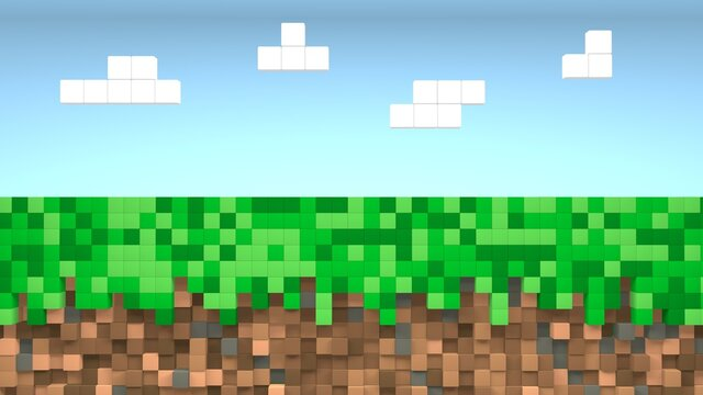 Video game geometric mosaic waves pattern. Construction of hills landscape using brown and green grass blocks, blue sky and clouds. Pixel background. Concept of games minecraft background. 3d render