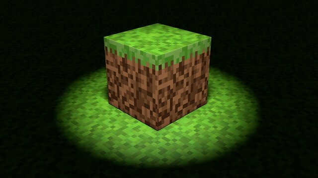 Video game minecraft geometric mosaic waves pattern. Construction of hills landscape using brown and green grass blocks. Concept of modern pixel games. The spotlight is shining, dark shadow. 3d render