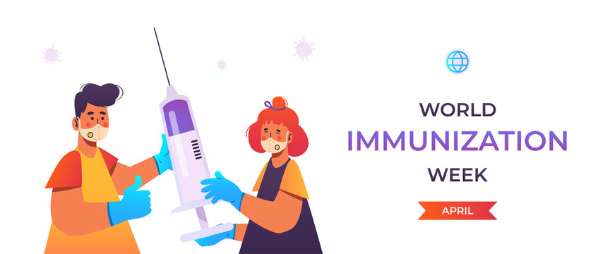 World Immunization Week. Promote immunization against vaccine-preventable diseases. People wearing protective face mask and medical gloves. Holding big syringe. Public health campaign. Isolated, flat.
