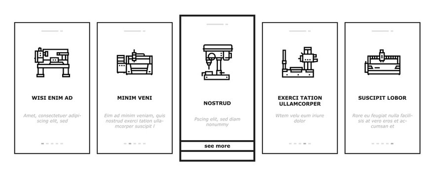 Metal Working Machine Onboarding Mobile App Page Screen Vector. Welding And Sandblasting Machine, Laser And Boring Apparatus Metal Work Industrial Equipment Illustrations
