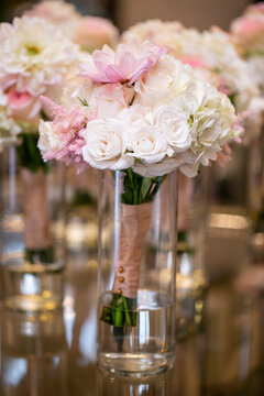 Bouquet of roses and other flowers for a wedding ceremony