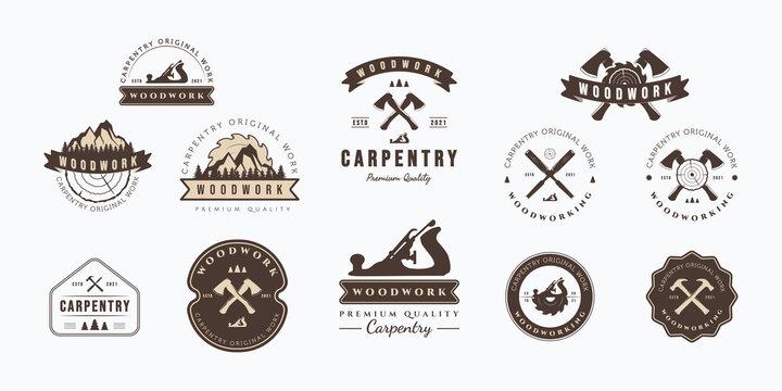 Collection of carpentry vector illustration badge design. Set of vintage carpentry emblem logo concept