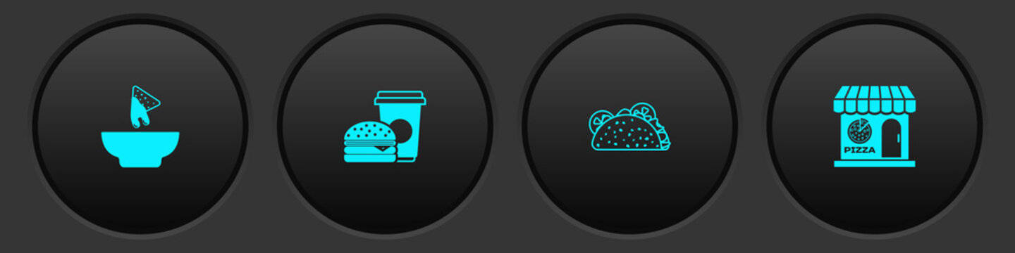 Set Nachos in plate, Coffee and burger, Taco with tortilla and Pizzeria building facade icon. Vector