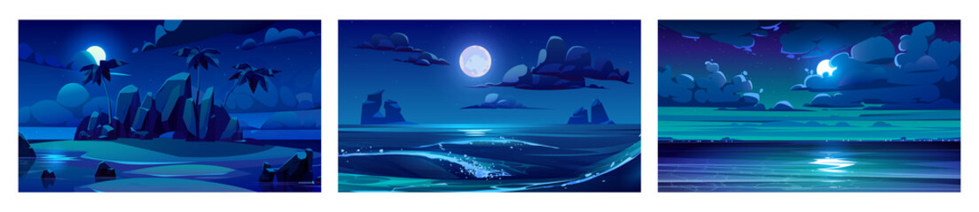 Wall Murals Wall Decor With Your Own Photos Sea landscape with moon, stars and clouds in dark sky at night. Vector cartoon backgrounds of seascape with tropical island with palm trees, sand beach, ocean waves and coastline on horizon