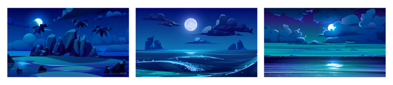 Sea landscape with moon, stars and clouds in dark sky at night. Vector cartoon backgrounds of seascape with tropical island with palm trees, sand beach, ocean waves and coastline on horizon