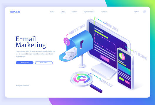 E-mail marketing isometric landing page with letter envelopes in mailbox near computer desktop, smartphone and magnifier. Electronic messages service benefits business concept, 3d vector web banner