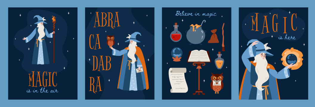 Fairy banners or cards with magician and magic items, flat vector illustration.
