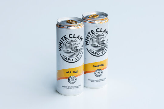 Portland, OR, USA - Apr 13, 2021: White Claw Hard Seltzer isolated on white. White Claw Hard Seltzer is an alcoholic seltzer water beverage owned by Mark Anthony Brands International.