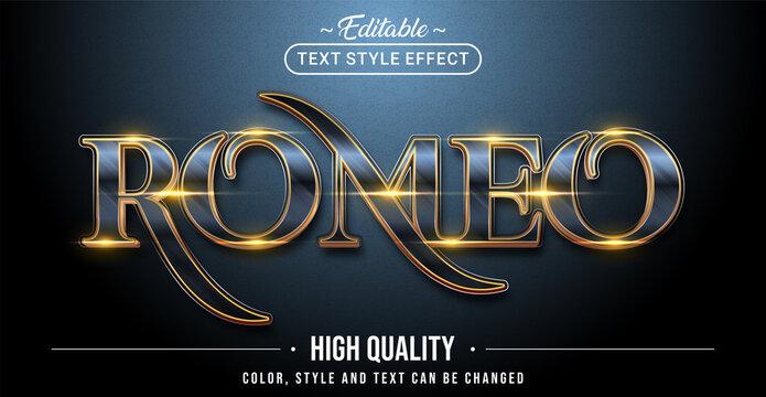 Editable text style effect - Romeo text style theme.