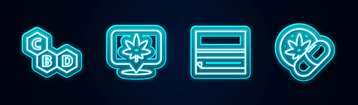 Set line Cannabis molecule, Location and cannabis, Rolling paper and Herbal ecstasy tablets. Glowing neon icon. Vector