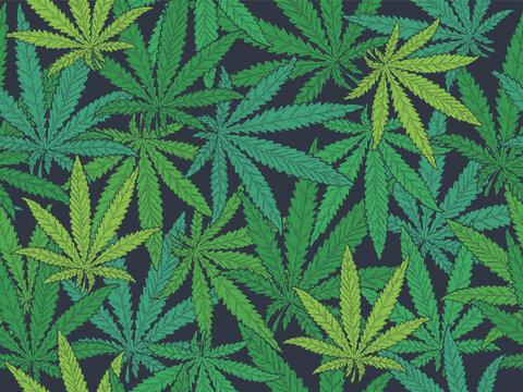 Seamless pattern Hand drawn marijuana leaves