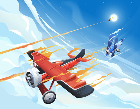 Illustration of airplane on the sky. World war 1 illustration
