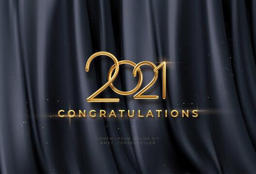 Congratulations golden award on black silk background. Graduate award. Award nomination background. Vector illustration