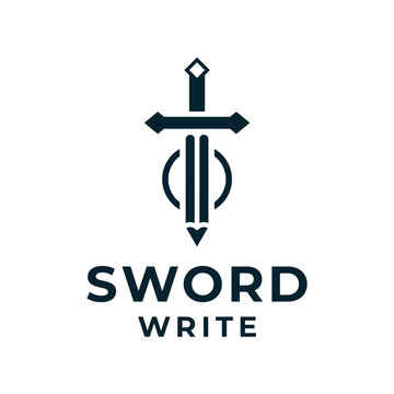 Sword pencil logo vector for business and branding