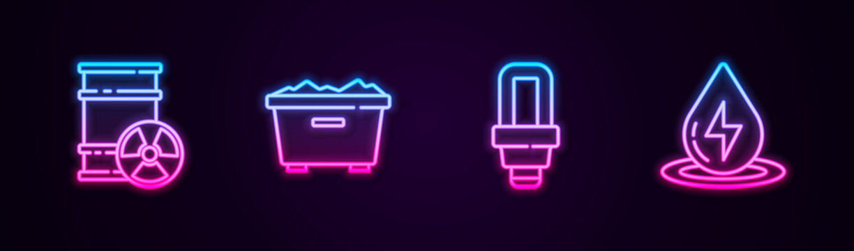Set line Radioactive waste in barrel, Trash can, LED light bulb and Water energy. Glowing neon icon. Vector