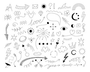 2101.i010.n012.S.c12.1396995566.Doodle symbols. Hand drawn thin line arrows with scribble emphasis crown and love heart icons. Vector isolated set