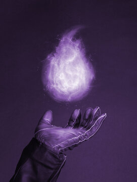 Levitating magic fire flame on a special glove