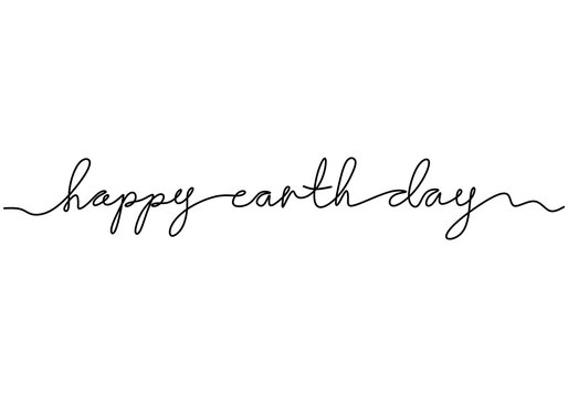 World environment day minimalism vector web banner, poster with lettering Happy Earth Day. One continuous line drawing. Save our planet and make it better place. Back to nature concept