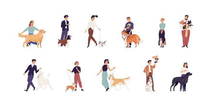 Set of pet owners with purebred dogs. Happy people with canine winner's golden cups and medals. Men and women with doggies and puppies. Colored flat vector illustration isolated on white background