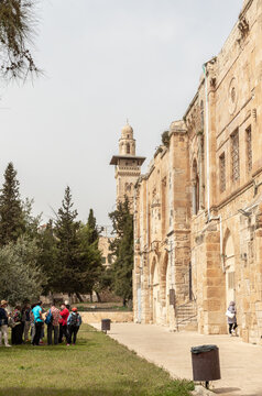 The south part the Temple Mount and the Bab el Ghawanima Minaret in the Old Town of Jerusalem in Israel