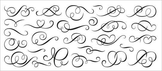 Obraz Calligraphic swirl ornament, line style flourishes set. Filigree vignette ornamental curls. Decorative design elements for menu, certificate, diploma, wedding card, invatation, outline text divider - fototapety do salonu