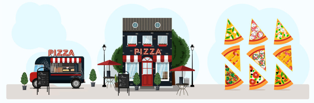 Big vector pizza set with food truck, pizzeria. Vector flat illustration slices of pizza, street food van and facade of a restaurant. Stylish retro illustration of fast food in parks and on the