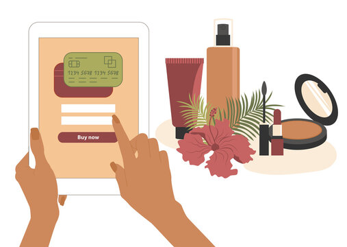 Women's hands hold a tablet and pay online with a payment through an application or website. Buy cosmetics and skin care products without leaving your home. Vector illustration