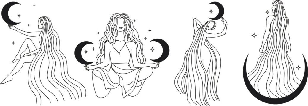 Contour of woman in yoga pose for meditation in mountains with moon and sun. Modern minimalist mystical astrology aesthetic illustration with Motivational quote for poster. Beautiful poster.