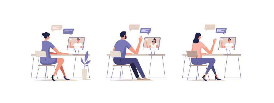 Young people communicate online using a mobile devices. Concept of video call conference, remote working from home or online meeting. Vector illustration.