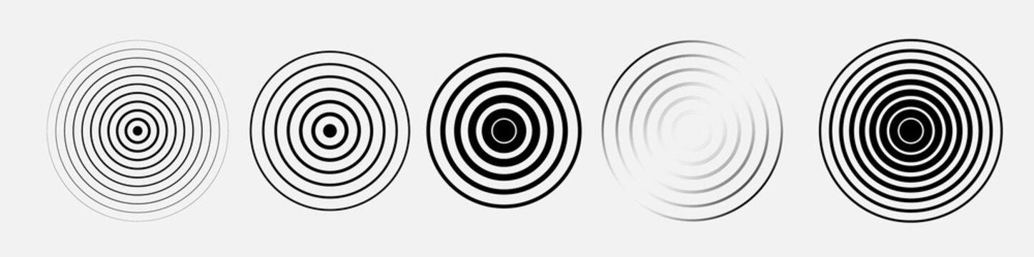 Black rings sound waves set. Circle element. Radar and radio signal. Vector sound abstraction wave. Circle ripples.