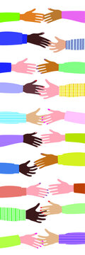 Friendship of different peoples, handshake and agreement. Flat style. Vector illustration.