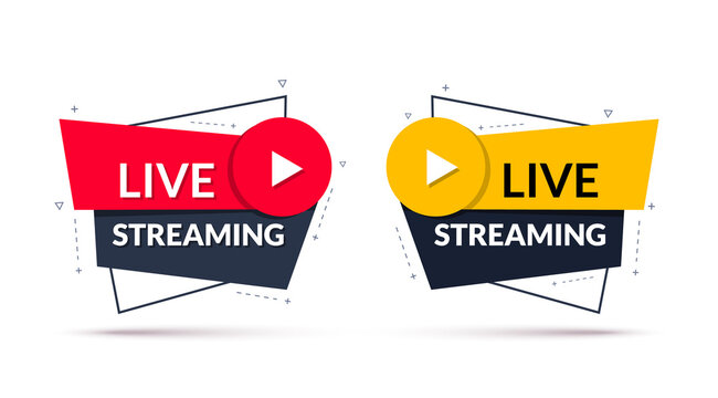 Live streaming sign. Geometric banner of online live streaming or broadcast. Vector illustration
