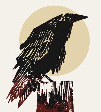 Raven/ crow linocut illustration. Ominous, brooding symbol of impending doom.