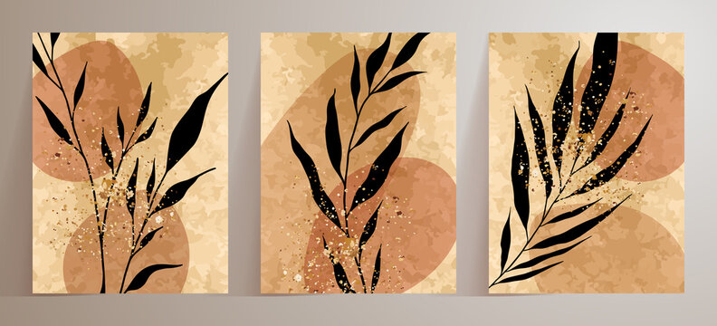 Black palm leaf, gold splashes, drops drawing with abstract shape. Abstract Botanical wall art vector set. Earth tone boho watercolor minimalistic background with doodles Plant geometric hand painted