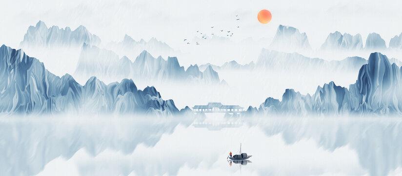 Hand painted Chinese style blue elegant landscape painting