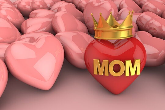 Red heart with mom text. Happy mother's day. 3D Render
