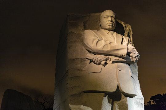 WASHINGTON DC, UNITED STATES - Oct 12, 2017: Martin Luther King, Jr. Memorial At Night