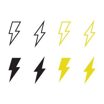Lighting bolt Icon Vector. Simple flat symbol. Perfect Black pictogram illustration on white background.