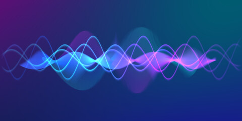 Fototapeta Speaking sound wave lines illustration.Colorful gradient motion abstract background.