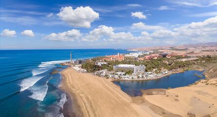 Fototapeta Aerial photos of Maspalomas beach,  Lighthouse and town in Gran Canary, Spain