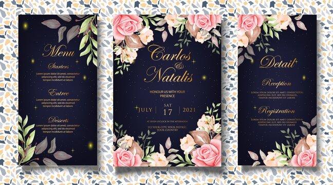 Luxury Floral Wedding Invitation Card Template