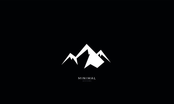 A line art icon logo of a minimal mountain, peak, summit