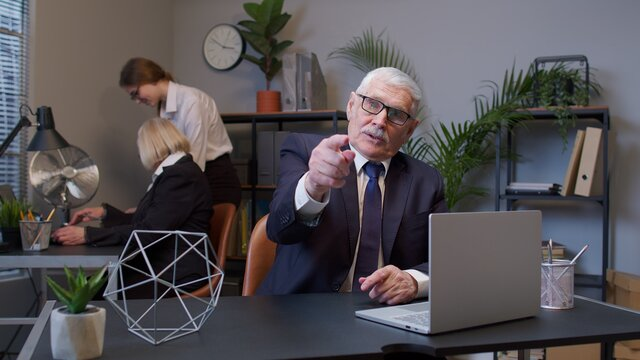 Are you ready, yes you. Senior mature old business man pointing to camera, choosing lucky one winner, meaning we need you, showing direction, noticing. Coworking, cooperation. Freelance business