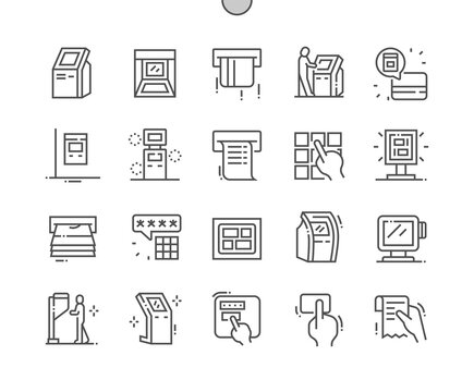 Kiosk Terminal. Business, touchscreen, electronic, bank, customer, technology, payment. Finance and money. Pixel Perfect Vector Thin Line Icons. Simple Minimal Pictogram
